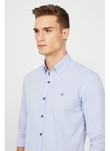 Avva Erkek  Düz Alttan Britli Yaka Gömlek A02Y2244 Mavi